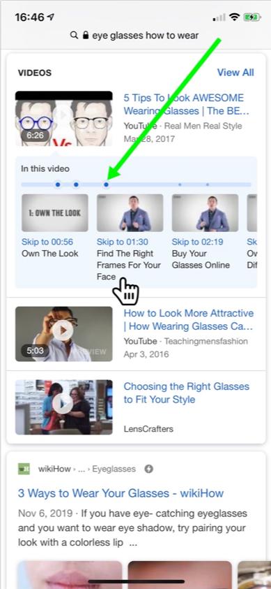ejemplo de carrusel de video y momentos específicos en los que se puede hacer clic.