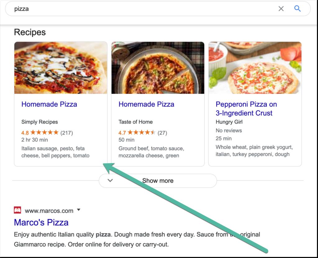 ejemplo de carrusel de recetas para consulta de alimentos.