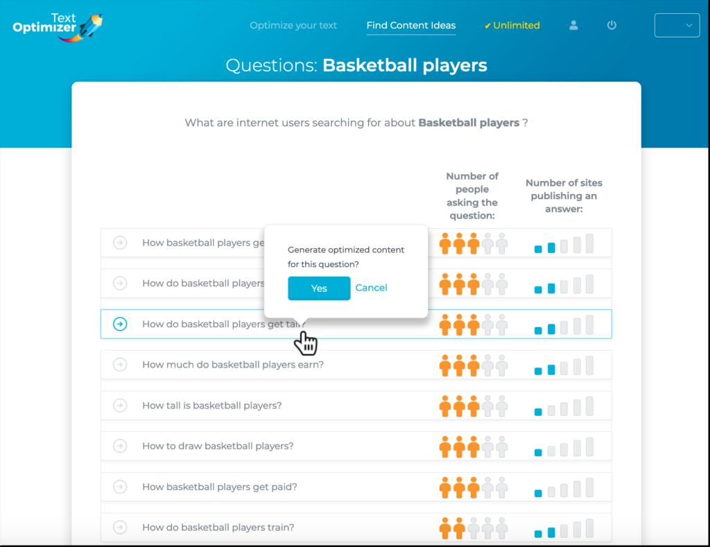 herramienta de optimizador de texto para encontrar preguntas que la gente hace en la búsqueda.